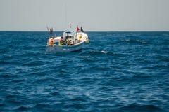 Palamos, Catalonia, may 2016: Fishing boat fishing Stock Photography