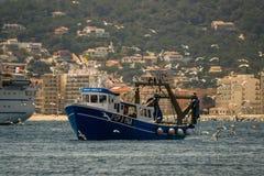 Palamos, Catalonia, may 2016: Fishing boat fishing trawls Royalty Free Stock Photography
