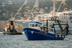 Palamos, Catalonia, may 2016: Fishing boat fishing trawls Stock Photos