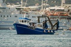 Palamos, Catalonia, may 2016: Fishing boat fishing trawls Stock Images