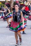 Palamos, España - 11 de febrero de 2018, desfile de carnaval tradicional en una pequeña ciudad Palamos, en Cataluña, en España Fotos de archivo