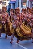 Palamos, Spanien - 10. Februar 2018, traditionelle Karnevalsparade in einer Kleinstadt Palamos, in Katalonien, in Spanien Lizenzfreie Stockfotografie