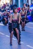 Palamos, Spanien - 10. Februar 2018, traditionelle Karnevalsparade in einer Kleinstadt Palamos, in Katalonien, in Spanien Lizenzfreie Stockfotos