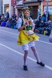 Palamos, Spanien - 10. Februar 2018, traditionelle Karnevalsparade in einer Kleinstadt Palamos, in Katalonien, in Spanien Lizenzfreies Stockbild