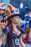 Palamos, Spanien - 10. Februar 2018, traditionelle Karnevalsparade in einer Kleinstadt Palamos, in Katalonien, in Spanien Stockfotos