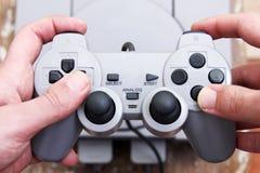 Palanca de mando de la estación del juego con Playstation Fotografía de archivo
