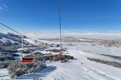 Palandoken, Erzurum, Turkey - Mountain skiing and snowboarding. Mountain skiing and snowboarding - Palandoken, Erzurum, Turkey stock photos
