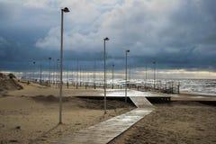 Palanga Baltisch strand in de herfst Stock Afbeelding