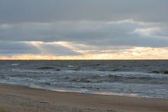 Palanga Baltisch strand in de herfst Stock Foto