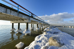 Palanga bridge Baltic sea in winter Royalty Free Stock Photos
