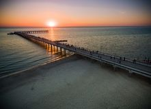 Palanga Bridge in Lithuania. Sunset Time Royalty Free Stock Image