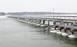 Palanga bridge in winter Royalty Free Stock Images