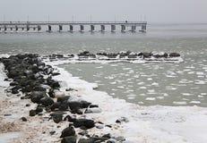 Palanga bridge in winter Stock Images