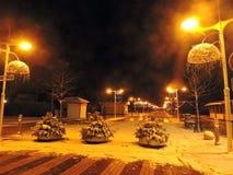 Palanga town at night, Lithuania royalty free stock photography