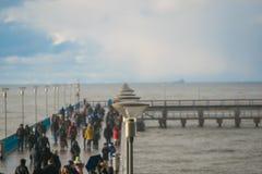 Palangapromenade in het seizoen van de winterkerstmis Royalty-vrije Stock Afbeelding