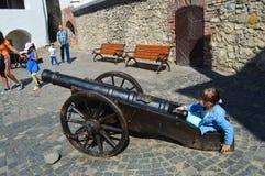 Palanok-Schloss in Mukachevo, Ukraine am 14. August 2016 Stockfotos