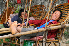 Palanquin bearers are waiting for visitors in Heng mountains Stock Images