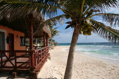 Palapa with Balcony in Playa del Carmen - Mexico Royalty Free Stock Photo