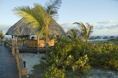 Palapa bar. A palapa bar by the beach at a tropical resort stock photo