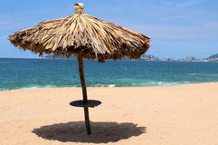 Palapa at the Beach. Rustic ceiling for resting at the beach Stock Photos