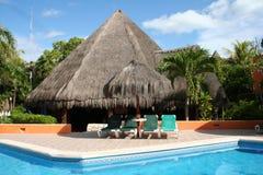 Palapa em Playa del Carmen - México Fotografia de Stock Royalty Free