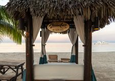 Palapa over looing the sea royalty free stock photography