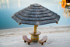 Palapa picnic table and benches. Picnic palapa with benches at riverside Stock Photography