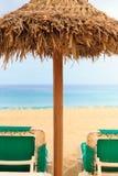 Palapa słońca dachu plażowy parasol w przylądka verde Zdjęcia Royalty Free