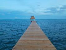 Palapa skeppsdockasikt Belize Royaltyfria Bilder