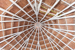 Palapa style roof of a hotel room in Mexico Royalty Free Stock Images