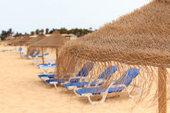 Palapa sun roof beach umbrella in cape verde Royalty Free Stock Photos