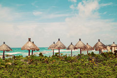 Palapa sun roof beach umbrellas in Caribbean Sea Stock Photos