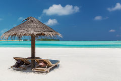 Palapa and sunbeds on maldives beach. Travel, tourism, vacation and summer holidays concept - palapa and sunbeds over sea and sky on maldives beach Stock Image