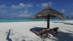 Palapa and sunbeds by sea on maldives beach stock video