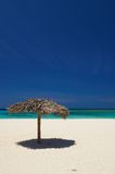 Palapas on Holguin beach in Cuba Royalty Free Stock Image