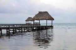 Palapas i San Pedro, Belize Royaltyfria Foton