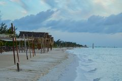 Palapas on a sandy beach of Gulf of Mexico royalty free stock photography