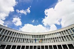 Palast des INPS in Rom Eur, Marktplatz delle Nazioni vereinigen lizenzfreie stockbilder