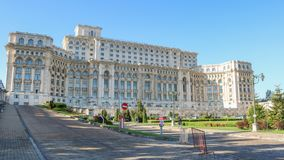 Palast des Parlaments, Palatul Parlamentului, in Bukarest Rumänien April 2018 lizenzfreie stockfotografie