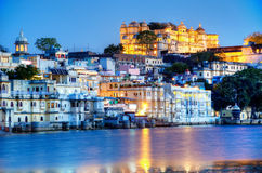 Palast and Old-Town Udaipur, Rajastan, India. By night Royalty Free Stock Images