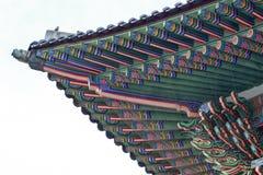 Palast von Korea, koreanisches hölzernes Dach, Gyeongbokgungs-Palast in Seoul, Südkorea lizenzfreie stockfotos