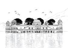 Palast in wasser- Jal Mahal, Vektor Illustratio Rajasthans, Indien Lizenzfreie Stockbilder