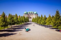 Palastgarten von Belvedere in Wien, Österreich stockbilder