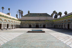 Palastpatio Marrakesch-Bahia Stockfoto