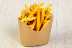 Palatable french fries. With salt stock photo