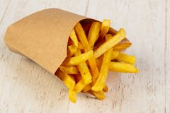 Palatable french fries. With salt stock photography