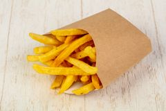 Palatable french fries. With salt stock images