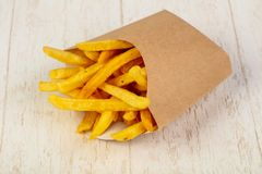 Palatable french fries. With salt royalty free stock photos