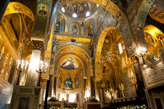 Palatine Chapel - Palermo, Sicily. Inside the Normanii Palazzo is the Sicilian National Assembly and this amazing golden chapel Royalty Free Stock Images