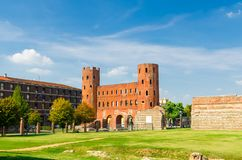 Palatine Gate Porta Palatina towers brick buildings royalty free stock image